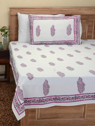 Pink-Green Hand Block-printed Cotton Double Bed Cover with Pillow Covers (Set of 3)