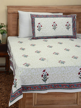Red-Blue Hand Block-printed Cotton Double Bed Cover with Pillow Covers (Set of 3)