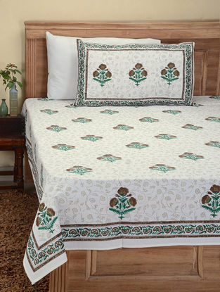 Brown-Green Hand Block-printed Cotton Double Bed Cover with Pillow Covers (Set of 3)
