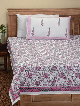 Pink-Grey Hand Block-printed Cotton Double Bed Cover with Pillow Covers (Set of 3)