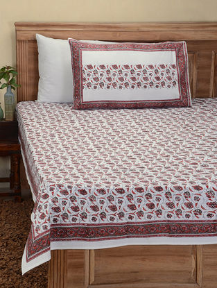 Orange-Grey Hand Block-printed Cotton Double Bed Cover with Pillow Covers (Set of 3)
