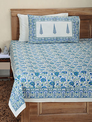 Blue-Green Hand Block-printed Cotton Double Bed Cover with Pillow Covers (Set of 3)