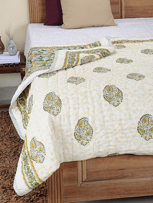 Yellow-Green Hand Block-printed Cotton Double Reversible Quilt (106in x 84in)