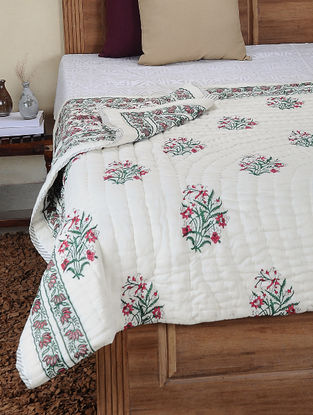 Red-Green Hand Block-printed Cotton Double Reversible Quilt (106in x 84in)