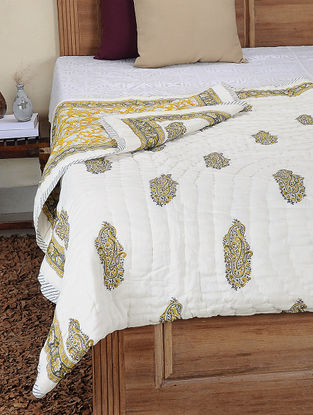 Yellow-Grey Hand Block-printed Cotton Double Reversible Quilt (106in x 82in)
