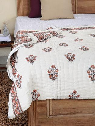 Orange-Grey Hand Block-printed Cotton Double Reversible Quilt (106in x 84in)