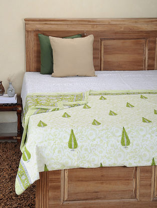 Green-White Hand Block-printed Cotton Single Reversible Dohar (92in x 62in)