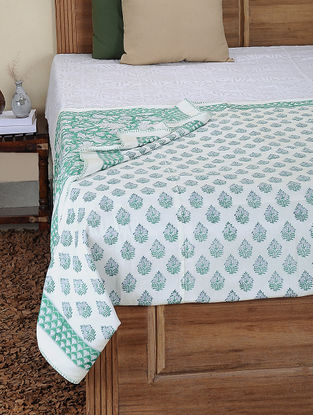 Green-White Hand Block-printed Cotton Single Reversible Dohar (92in x 65in)