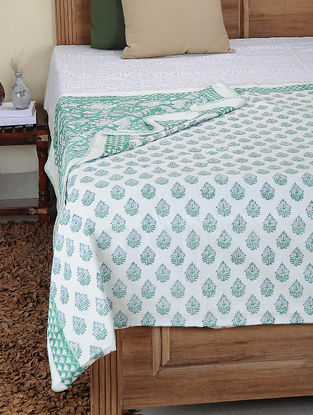 Green-White Hand Block-printed Cotton Double Reversible Dohar (110in x 88in)