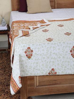 Orange-Green Hand Block-printed Cotton Double Reversible Dohar (110in x 86in)