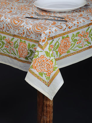 Orange-Green Hand Block-printed Cotton Table Cover (84in x 60in)