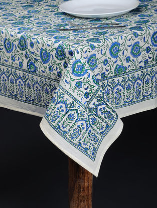 Blue-Green Hand Block-printed Cotton Table Cover (84in x 61in)