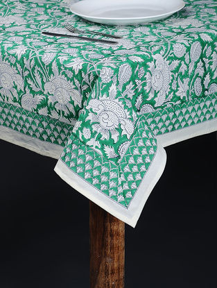 Green Hand Block-printed Cotton Table Cover (84in x 64in)