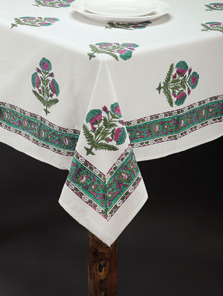 Purple-Green Hand Block-printed Cotton Table Cover (85in x 61in)
