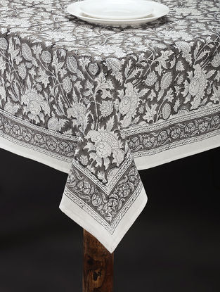 Grey-White Hand Block-printed Cotton Table Cover (84in x 60in)