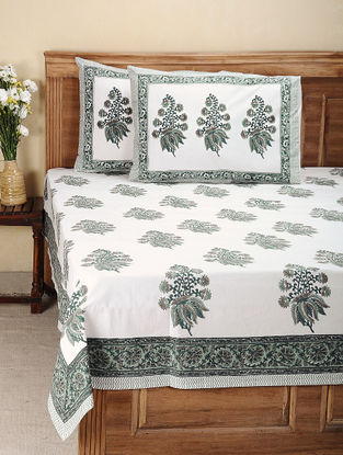 White-Green Hand Block-printed Cotton Double Bed Cover with Pillow Covers (Set of 3)