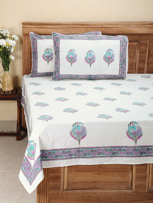 Pink-Blue Hand Block-printed Cotton Double Bed Cover with Pillow Covers (Set of 3)