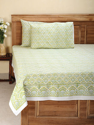 Green-Yellow Hand Block-printed Cotton Double Bed Cover with Pillow Covers (Set of 3)