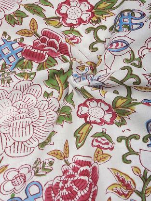 Brown-Green Hand Block-printed Cotton Fabric