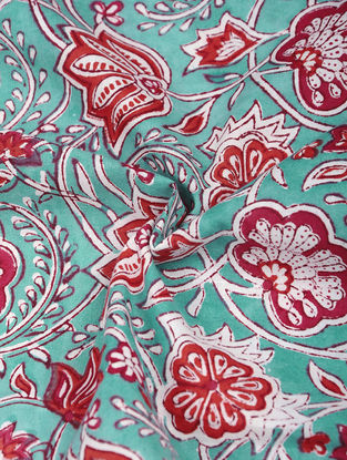 Green-Red Hand Block-printed Cotton Fabric
