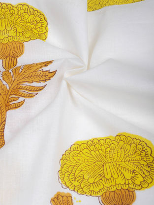 Yellow-Green Hand Block-printed Cotton Fabric