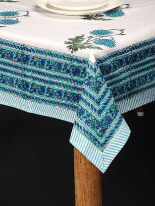 Green-Blue Hand Block-printed Cotton Table Cover (86in x 60in)