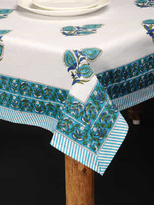 Blue-Green Hand Block-printed Cotton Table Cover (86in x 60in)