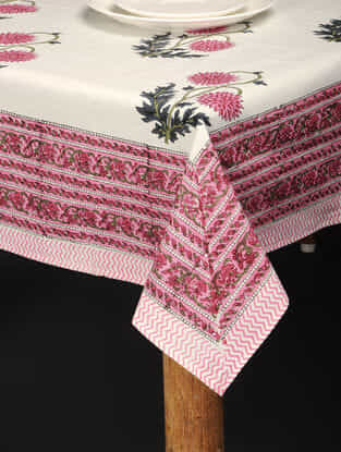 Red-Green Hand Block-printed Cotton Table Cover (86in x 59in)