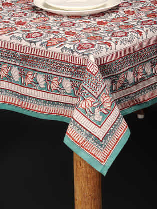 Multicolored Hand Block-printed Cotton Table Cover (85in x 60in)