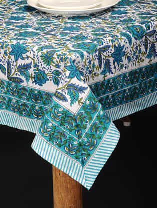Blue-Green Hand Block-printed Cotton Table Cover (85in x 60in)