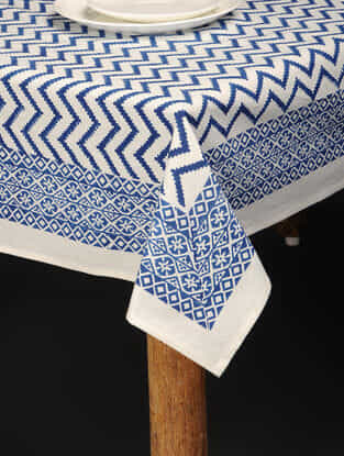 Blue-White Hand Block-printed Cotton Table Cover (85in x 61in)