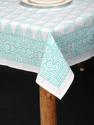 Blue-White Hand Block-printed Cotton Table Cover (85in x 60in)