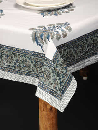 Blue-White Hand Block-printed Cotton Table Cover (86in x 59in)