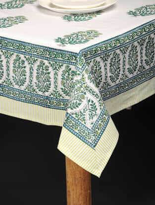 Blue-Green Hand Block-printed Cotton Table Cover (85in x 59in)