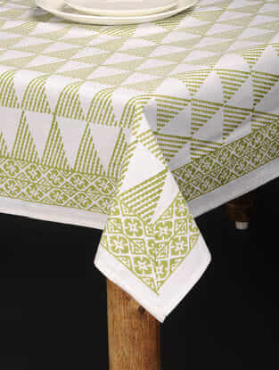 Green-White Hand Block-printed Cotton Table Cover (85in x 60in)