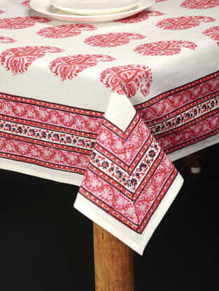 Red-White Hand Block-printed Cotton Table Cover (85in x 60in)