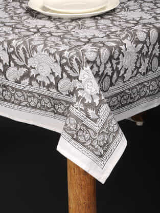 Grey-White Hand Block-printed Cotton Table Cover (85in x 61in)