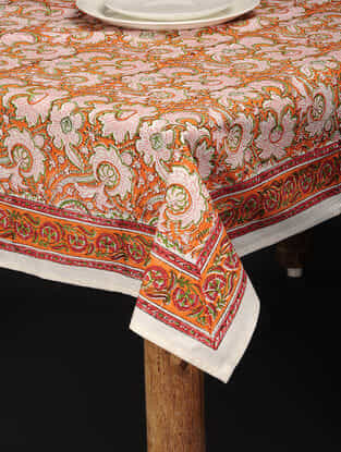 Multicolored Hand Block-printed Cotton Table Cover (84in x 60in)
