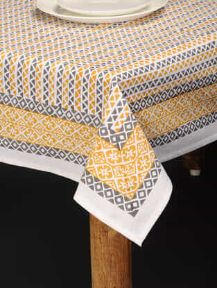Yellow-Blue Hand Block-printed Cotton Table Cover (85in x 60in)