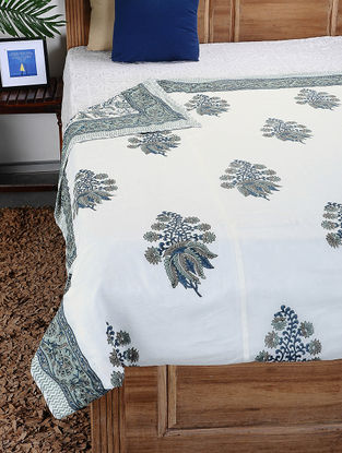 White-Grey Hand Block-printed Cotton Single Dohar (92in x 65in)