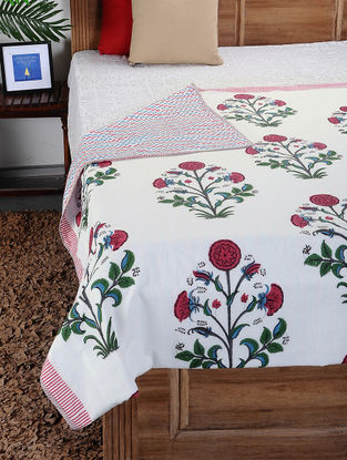 Red-Green Hand Block-printed Cotton Single Dohar (90in x 62in)