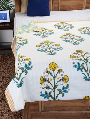 Yellow-Green Hand Block-printed Cotton Single Dohar (93in x 58in)