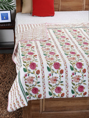 Multicolored Hand Block-printed Cotton Double Dohar (110in x 86in)
