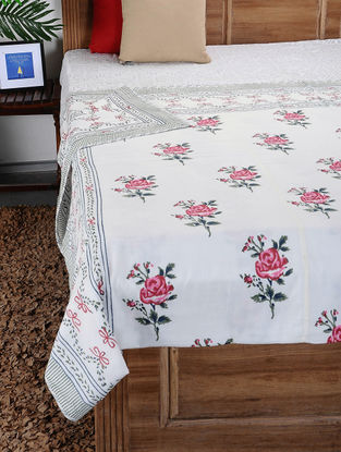 Multicolored Hand Block-printed Cotton Double Dohar (109in x 86in)