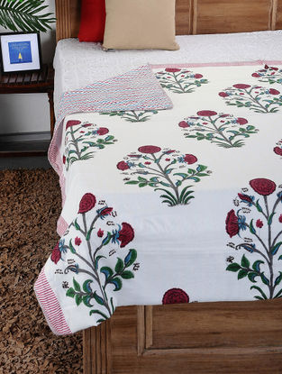 Red-Green Hand Block-printed Cotton Double Dohar (108in x 87in)