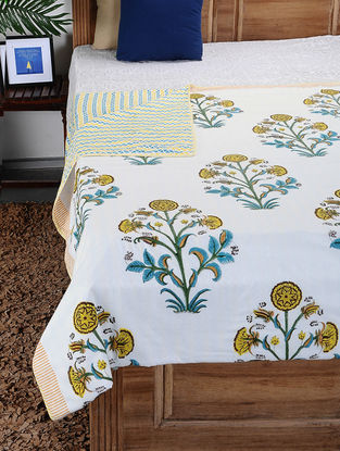 Yellow-Green Hand Block-printed Cotton Double Dohar (109in x 86in)