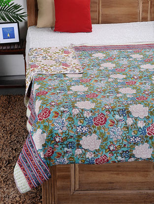Multicolored Hand Block-printed Cotton Double Dohar (108in x 85in)