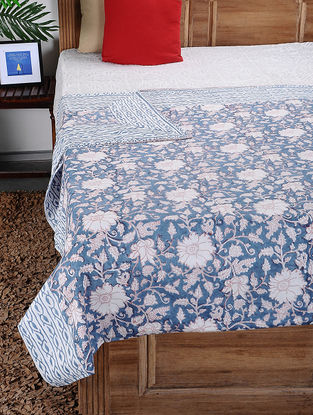 Blue-White Hand Block-printed Cotton Double Dohar (106in x 86in)