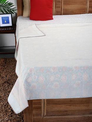 White-Multicolored Hand Block-printed Reversible Cotton Single Dohar (90in x 58in)