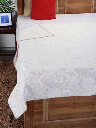 White-Multicolored Hand Block-printed Reversible Cotton Single Dohar (94in x 57in)